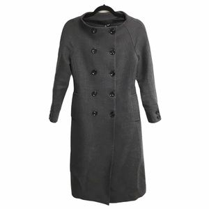 ZARA Wool Double Breasted Collarless Long Coat S